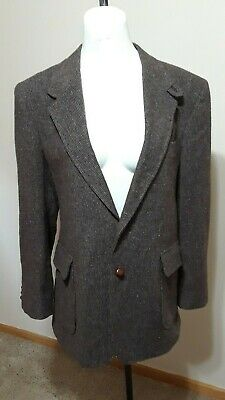 Vtg Levis Preferred Wool Tweed Sports Suede Elbow Patch Western Blazer Coat 44R