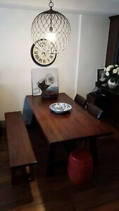 Crate and Barrel Dining Table with Chairs and Bench