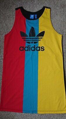 Adidas Originals Trefoil Dress Tank Vest Women Shirt 100% Cotton Size 12