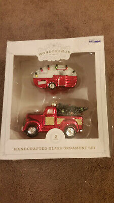 Wondershop Glass Ornaments Red Truck with Christmas Tree & Camper