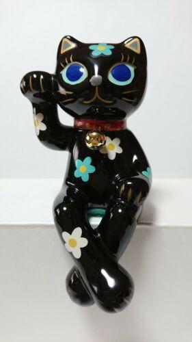 Maneki Neko Beckoning Lucky Cat With Crossed Legs Pottery Black Used From Japan