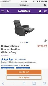 Charcoal grey Bonded Leather Glider/Recliner