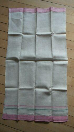 Antique Linen Kitchen Hand Towel PINK & GREEN STRIPE ENDS