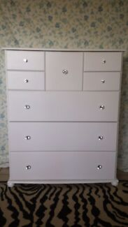 WHITE TALLBOY CHEST OF DRAWERS / DRESSER TALL BOY Dressing table  Bundall Gold Coast City Preview