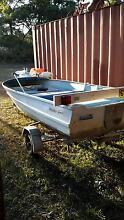 aluminium boat, trailer, elec motor, $499 swap Old Bar Greater Taree Area Preview