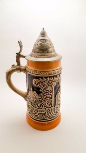 Gerz Classic Vintage Etched Lidded German Beer Stein With 95% Zinn