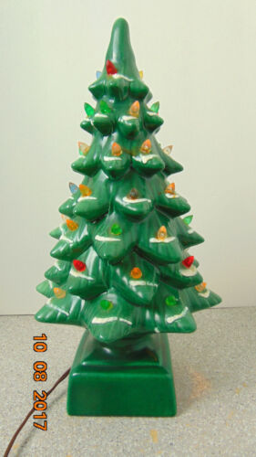 "Vintage 17""  Ceramic Christmas Tree Snow  Flocked  with Star original box"