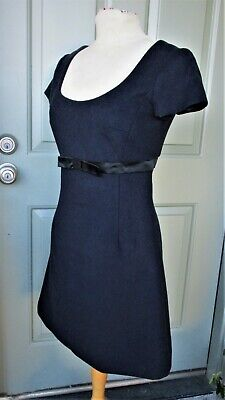 Edward An Midnight Blue A line Dress Wool Blend 2 P Small (Fits 4) Jackie O NWOT