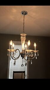 Chandelier. Works. Chrome and frosty glass.