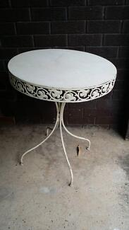 Cream round metal table Revesby Bankstown Area Preview