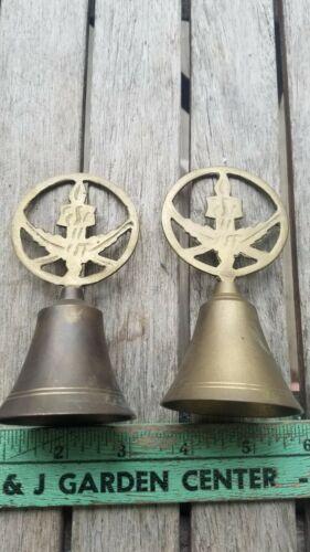 2 Vintage Brass Christmas Bells Decor Candle