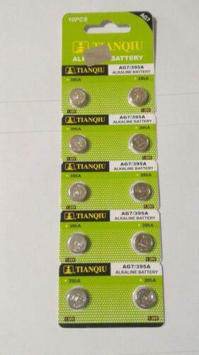 10 Pack AG7 395 399 LR926 LR927 LR57 D395 1.5V Alkaline Battery Watch
