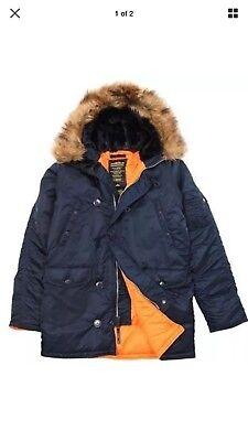- NWT Alpha Industries N-3B Parka Blue Slim Mens Sz XS Military Winter Coat Jacket
