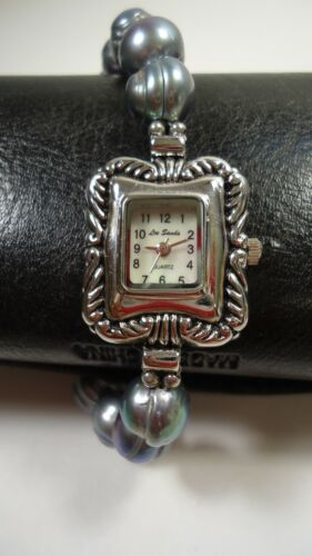Lee Sands Rectangle MOP Watch w 10mm Silver Grey Peacock Ring Pearl&Toggle Clasp