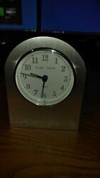 Stuart Austin Quartz Mantel Brushed Aluminum or Steel Finish Clock