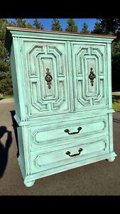 Beautiful Vintage Aqua Upright Dresser Armoire