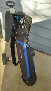 Rh Youth golf clubs with bag and pull cart