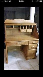 Roll top desk solid oak
