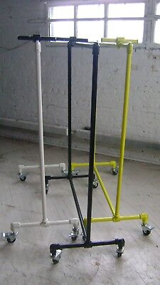 Urban Industrial Pipe Rack Yellow-white-black Rolling Garment Pipe Rack