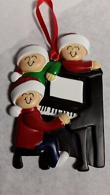 Personalized Around The Piano Family 3 Christmas Tree Ornament Holiday Gift