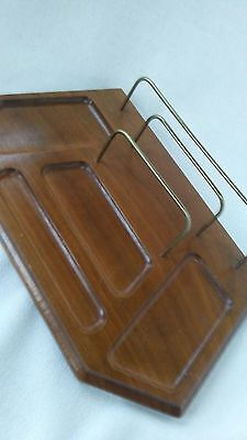 Vintage Wooden And Metal Desk Top Organizer