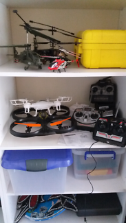5x remote control helicopters and quadcopters.