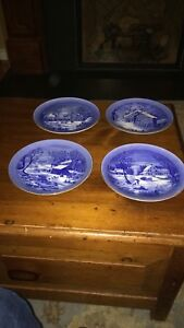 Blue china plates, winter scenes