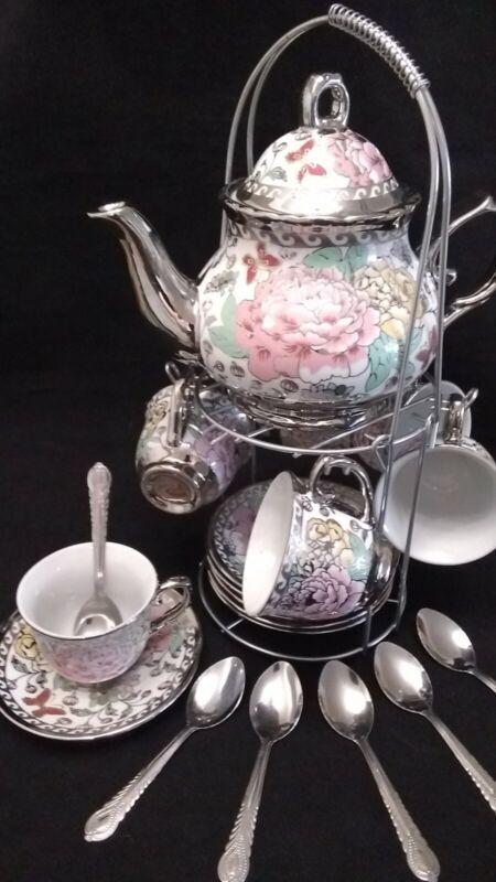 20 Piece Tea Set Tea Pot 6 Cups w Saucers w/ Rack Silver Multi Style 3 oz Cups