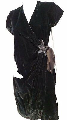 M Stevens Wrap (Vintage KARIN STEVENS BY STEVEN STOLLER BLACK VELVET WRAP DRESS - Size S/M)