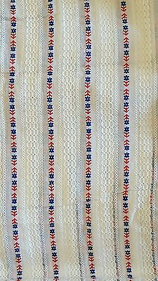 Vintage fabric white red/blue flowers retro design 1 2/3 yards
