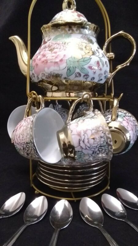 20 Pc Tea Sets Tea Pot w 6 Cups + Saucers Coffee Set Multi 3 oz Cups Teapot