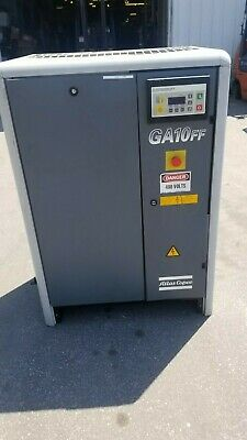 Used 15 Hp Atlas Copco Ga-10 Rotary Compressor. Skid Mounted W Dryer 230460v