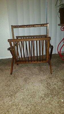 Vintage Mid Century Folding Wooden Magazine Rack