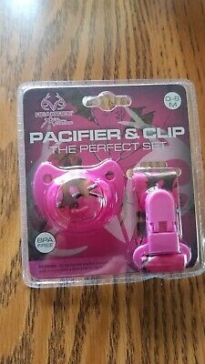 Realtree Pacifier & Clip Set Hot Pink Cammoflage 0-6 Months