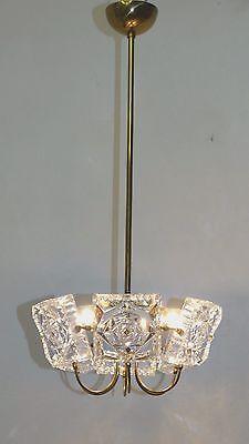 Alte Deckenlampe Teil Messing Lampe Glas Platten Leuchte Lampen Deckenleuchte