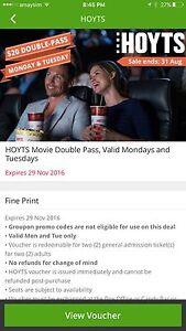 Hoyts movie voucher. Florey Belconnen Area Preview