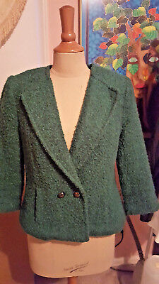 CABi Kelly Green Boucle Wool Blend Cropped Jacket Sz 8 #532 3/4 Sleeves Lined  for sale  Charlotte