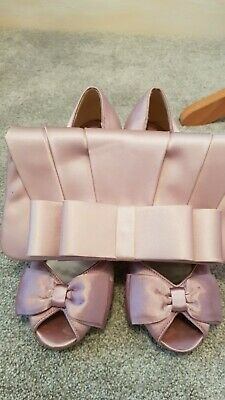 Ladies Pink Occasion Shoes And Matching Bag