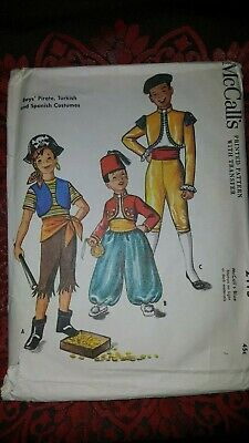 Vintage Pirate Costume (Vintage McCalls Costume Pattern 2115 Pirate Turkish Spanish Boys Size 12 CUT)