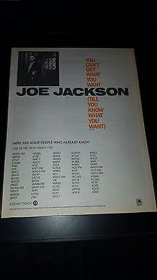 Joe Jackson You Can't Get What You Want Rare Radio Promo Poster Ad Framed!