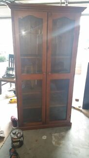 Wooden glass cabinet Prestons Liverpool Area Preview