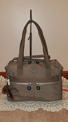 "Kipling ""Klara"" Handbag / Shoulder Bag / Crossbody w/ Joanna Monkey- Grey (EUC)"