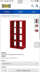 IKEA gloss red cube book display shelves + 4 inserts rrp $180 Chatswood Willoughby Area Preview