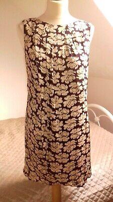 HOSS INTROPIA dress size 12 shift purple green silk floral drape sleeveless