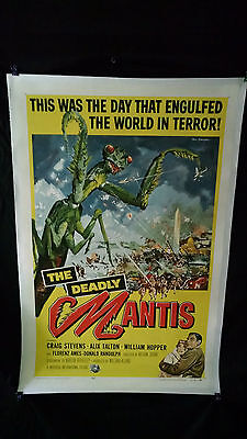 """1957  The Deadly Mantis Original Movie Poster 27"""" x 41"""" Linen Backed"""
