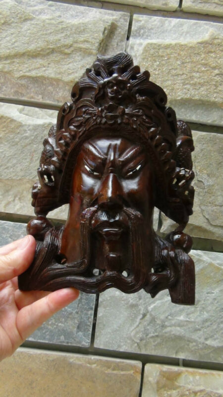 ANTIQUE 19C CHINESE ROSEWOOD HAND CARVED MASK OF IMPEROR WITH THE DRAGONS  #3