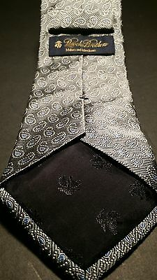 Brooks Brothers gray silk tie with blue and silver accents