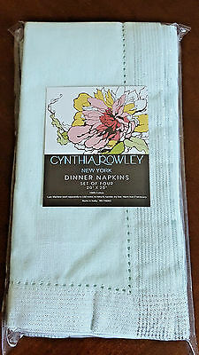 Mint Green Napkins (Cynthia Rowley Mint Green Silver Dinner Napkins 100% Cotton Set of)