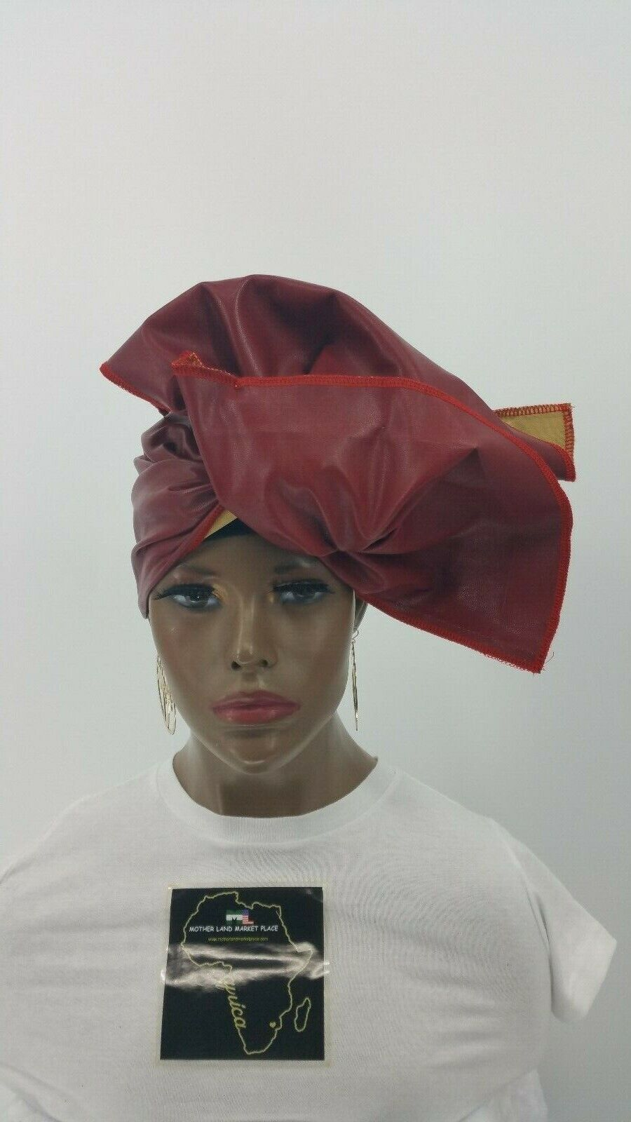 Serged Faux Leather Red Stretch Headwrap,Infinity Neck Wrap