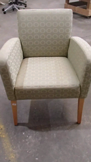 Set of 4Office Armchair   Green Pattern Fabric